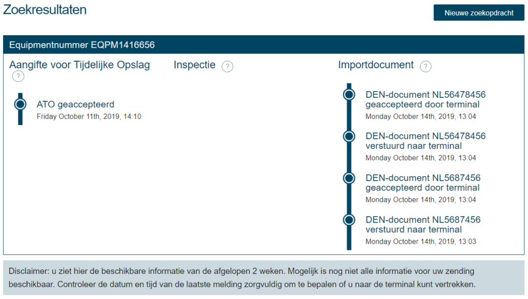 Screenshot Import Status for Shortsea